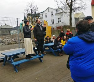 Tour guides, both Icelandic authors, during a literary walking tour around Reykjavik